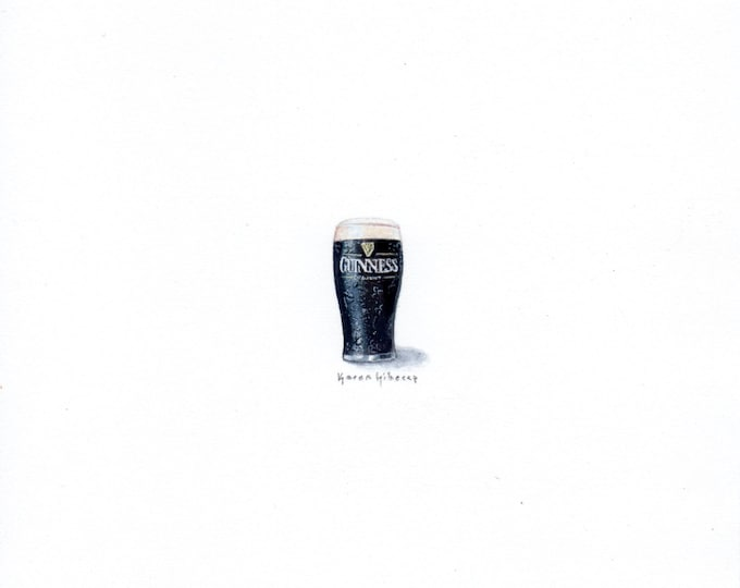 """Print of miniature painting of a Pint of Guinness. 1 1/4"""" x 1 1/4"""" print of original Guinness painting on 5"""" square german etching paper"""