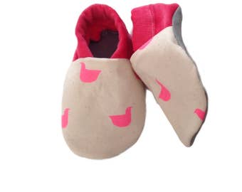 Neon Pink Ducks Soft Sole Baby Shoes, booties, pram shoes