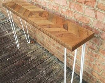 Wormy Chestnut Mirrored chevron style console table with white hairpin legs - Custom lengths and heights available