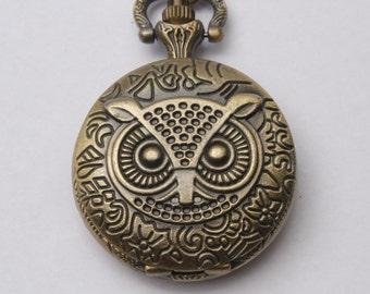 Steampunk pocket WATCH,Ancient Bronze  Owl Pocket Watch Necklace Owl Pocket Watch Pendant