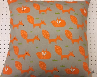 New Handmade Orange Scandi Fox on light brown Cushion Cover. Made in Cornwall.