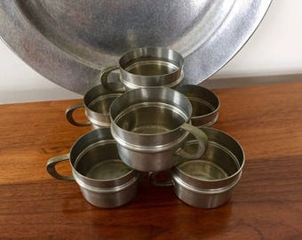 Vintage SKS PEWTER Cups, Set of 6 Small Pewter Cups with Handles, German Pewter SKS Design