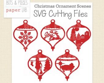 SVG Cutting Files: Christmas Scene SVG, Christmas SVG, Christmas Ornament