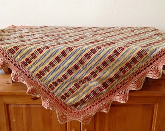Vintage Bulgarian hand-woven cloth, Hand-crocheted lace fabric, Folk tablecloth with ornaments, Decorative tablecloth ,Rustic table cloth