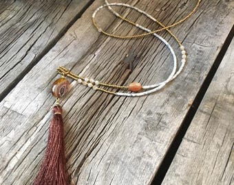 Handmade Tassel Necklace with Afghan Beads and Agate