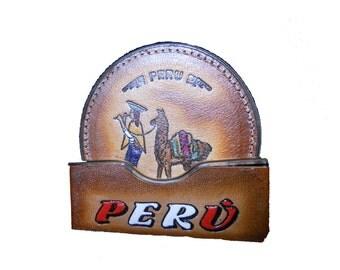 Leather Coaster Embossed Vintage