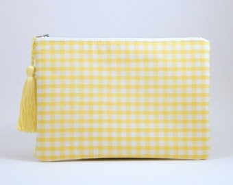 Gingham Clutch Bag Wristlet, yellow gingham check zip pouch