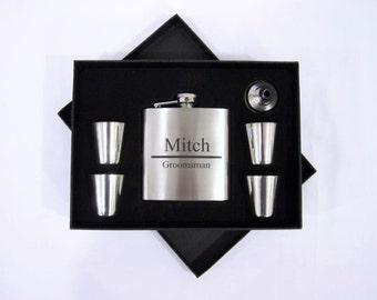 Personalized Groomsmen Flask Set, Engraved Flask Set, Personalized Flask, Groomsmeron Gift Ideas, Unique Gomsmen Gift Ideas, Wedding Flask.
