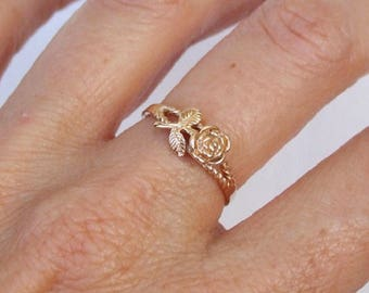 Gold Ring, Flower Ring, Rose Ring, Branch Ring, Floral Ring, Band Ring