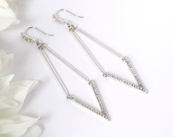 VICTORY silver earrings, dangle wire with silver V charm, Rhinestone. UK seller
