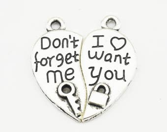 """10sets 25mm Letter """"Don't Forget Me I Want You"""" Charm Pendant Findings ZJ"""