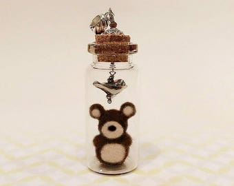 Needle Felted Teddy Bear in a Bottle Charm, Glass Bottle Pendant, Needle Felted Bear Pendant