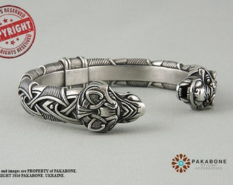 Viking Bracelet With Wolf's Head Scandinavian Bracelet Viking Jewelry Pewter art. 000-923