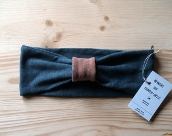 Headband made of 100% hemp Jersey, anthracite and cognac