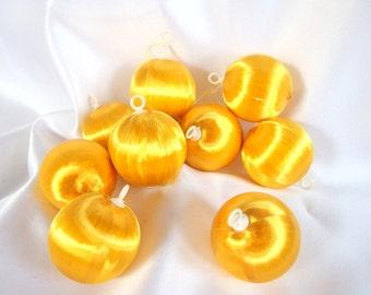 10 Small Vintage Gold Satin Christmas Ornaments