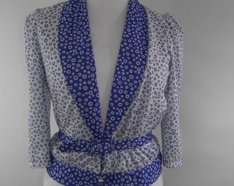 Vintage top blouse top 80s Hanna Freeman top shirt blue white spotted jacket blouson size small