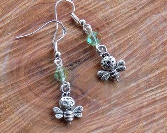 Bee my Valentine!  Handmade earrrings with double sided silver tone bee charm and glass crystal