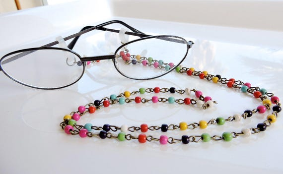 cool colors howlite eyeglass chain beaded eyeglass chain