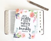 Bible Study Journal, Notebook, Christian Journal, Diary, Devotional, watercolor floral - Micah 6:8