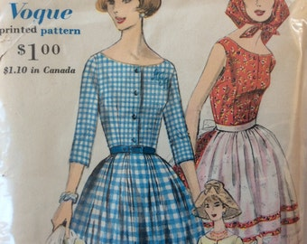 Vogue 9999 misses dress, apron & bandanna size 16 bust 36 vintage 1960's sewing pattern  Uncut  Factory folds