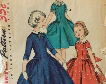Simplicity 1296 girls dress size 6 vintage 1950's sewing pattern  Uncut  Factory folds