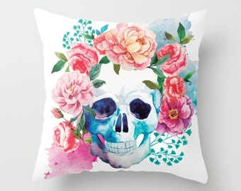 Skull Pillow Floral Skull Pillow Gifts for Her Day of the Dead Decor Floral Skull Decor Sugar Skull Pillow Cover Dorm Room Gifts Under 50
