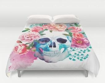 Skull Duvet Cover Floral Skull Comforter Sugar Skull print bedding floral dorm bedding girls bedding king queen full duvet gifts for her