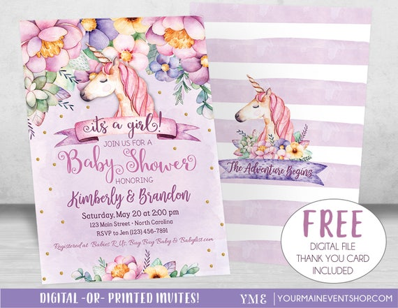 Unicorn Baby Shower Invitation, Girl Baby Shower, Magical Floral Baby Shower Invite, Purple, Gold, Pink, Unicorn Invitation