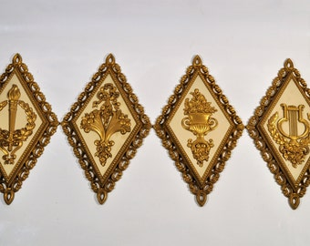 4 Diamond Shape Wall Plaques Gold U0026 Ivory, Color By Homco Home Decor/Art