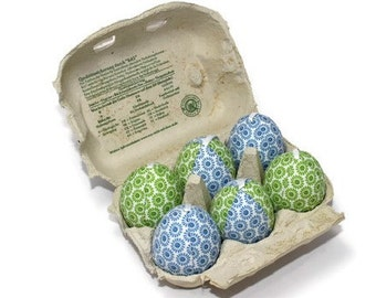 Fabric eggs eggs eggs from fabric to hang unbreakable blue green 6 pieces in carton