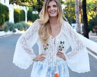 Lace boho embroidered smock