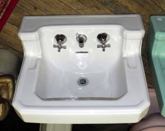Vintage Standard (later American Standard) White Shelf Back Sink With Cross Handles