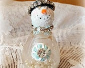 """Snowman Assemblage, Vintage Salt Shaker Snowman """"Aspen"""", Glass shaker, Snowman decoration, Christmas Collectible, Snow Lady, Original"""