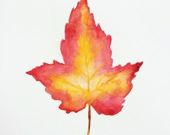 """Colors of Fall Maple Leaf Original Watercolor Painting [6"""" x 9""""]"""
