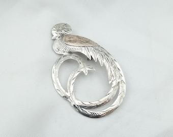 Unique Vintage Silver And Gold Quetzal Bird Brooch. Guatemala 900  #PARADISE-BR2