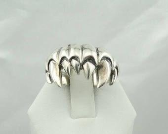 Twilight Vampire Fangs Vintage Sterling Silver Ring Size 11 1/2  #FANGS-MS