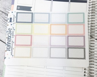 50% Off! S222 || STRIPE HALF Boxes for Weekly Spread of Erin Condren Planner (16 Removable Matte Stickers)