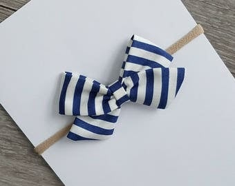 blue striped sailor bow, blue striped bow, blue and white bow, blue and off white fabric bow