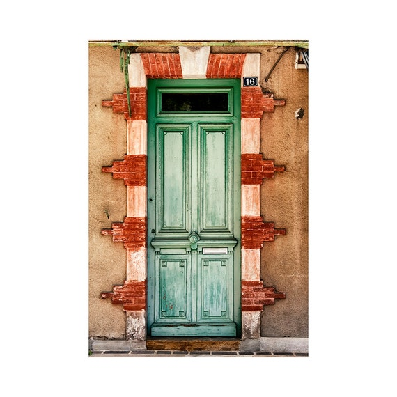 Rustic French Wall Decor : Green door photo french country decor modern rustic wall art
