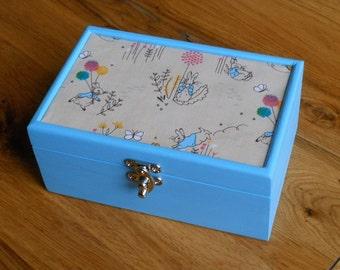 Peter Rabbit Fabric decorated/Gift/ jewellery/Keepsake/baby/nursery/storage box