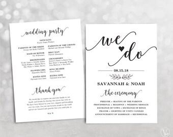 Printable Wedding Program, Wedding Program Template, DIY Program, INSTANT DOWNLOAD, Editable Text, Modern Calligraphy We Do VW10