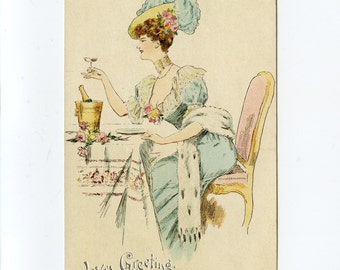 Vintage Valentine's Day Postcard Pretty Lady Victorian Blue Dress Sipping Champagne by Raphael Tuck Fortune's Favorites Series 220 - 7789Pc