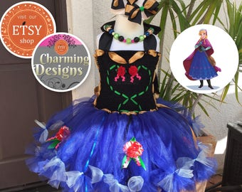 Frozen Anna inspired tutu dress, fully LINED TOP - Anna TuTu - Anna TuTu Dress, Bows & Necklace - by Charming Designs