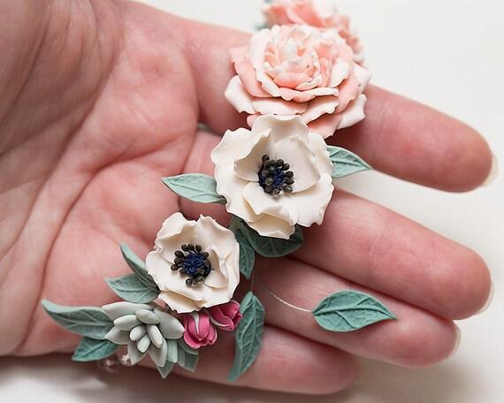 White Anemone Mint Succulent Pink Peonies Bracelet Wedding Clay Flower Jewelry Bridal Wrist Corsage