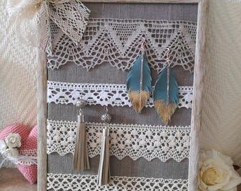 Earring holder, earring organizer, earring display, Framed earring holder, linen earring holder, lace earring holder, perfect gift for her