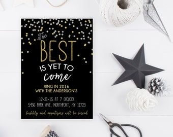 New Years Eve Party Invitation, New Years Party Invitation, 2017, Happy New Year, Printable New Years Party Invitation, Gold Invites [355]