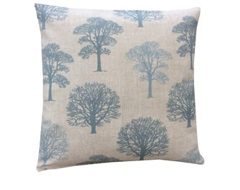 Beautiful Marson Tree design fabric in duck egg blue made in Britain modern country  cushion cover pillow case