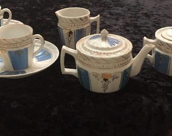 Antique Vintage Bavarian Art Deco Style White & Turquoise Blue 9 Piece Tea Set