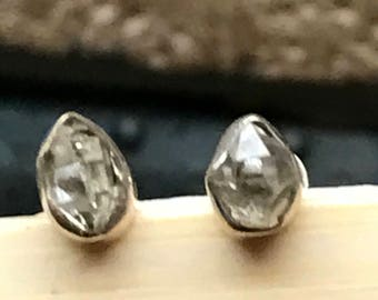 Natural Herkimer Diamond Water Clear 925 Solid Sterling Silver Stud Designer Earrings 4mm