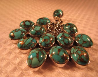 Cool Retro Sterling Silver Turquoise Pendant